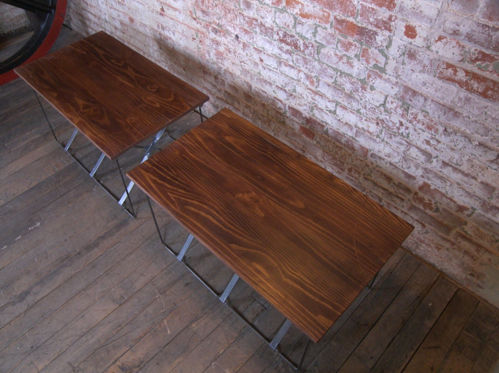 Vintage Industrial X-Base Wood and Metal Mid-Century Modern End Tables 5