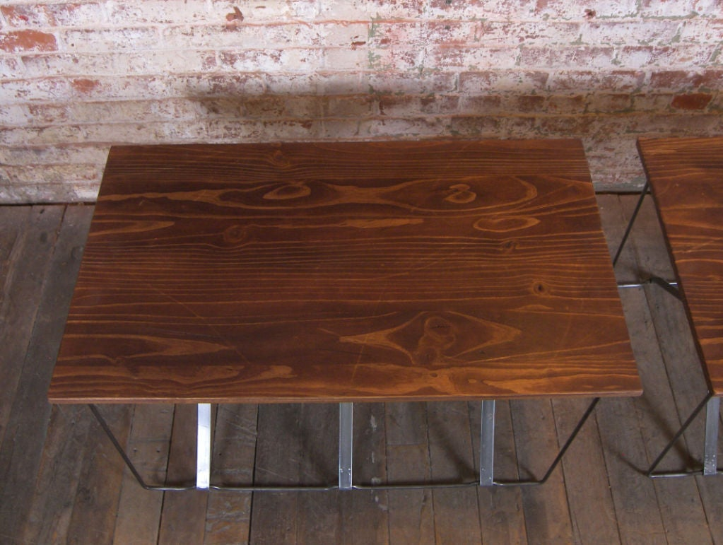 Vintage Industrial X-Base Wood and Metal Mid-Century Modern End Tables 6