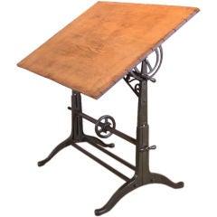 Vintage Industrial Cast Iron & Wood Adjustable Drafting Table
