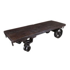 Vintage Industrial Cast Iron & Wood Coffee Table / Cart