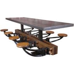 Vintage Industrial Cast Iron & Wood School Table w/ Metal Top