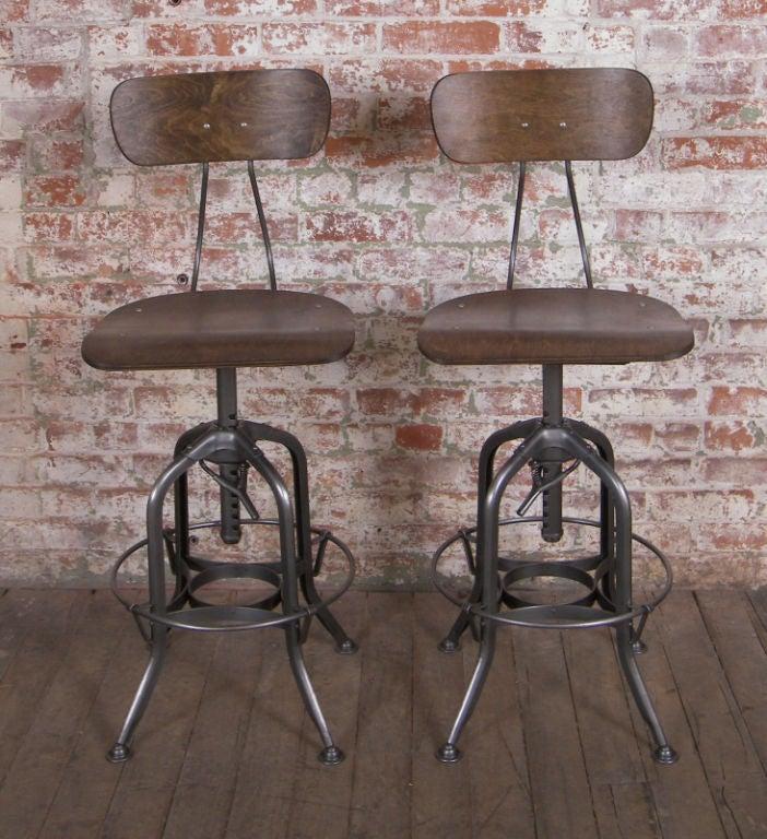 Vintage Industrial Wood And Metal Adjustable Toledo Stool