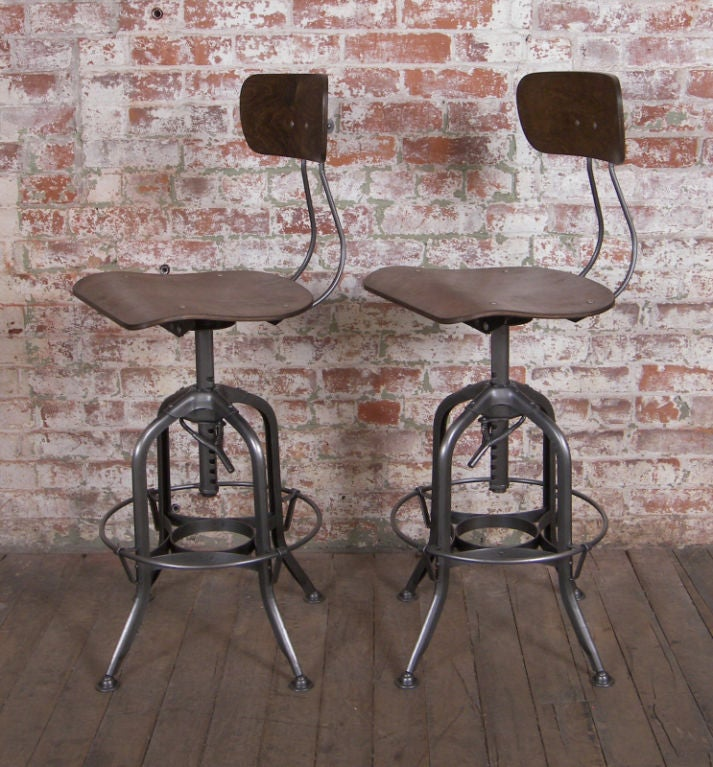 Vintage Industrial Wood And Metal Adjustable Toledo Stool