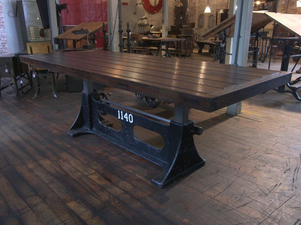 Vintage Industrial Adjustable Wood And Cast Iron Table At
