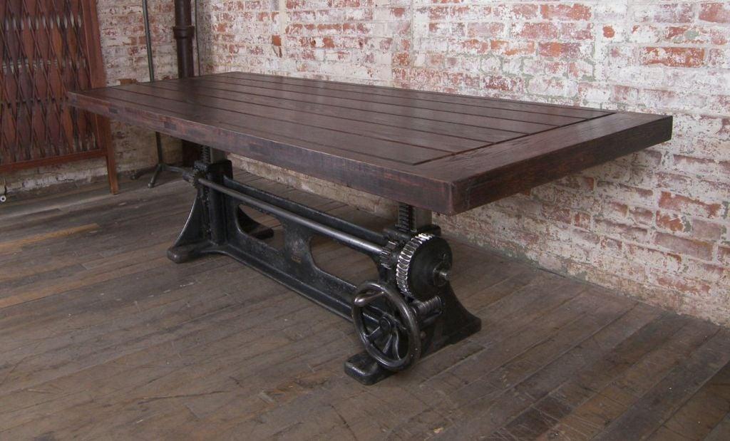 American Vintage Industrial Adjustable Wood & Cast Iron Table For Sale - Vintage Industrial Adjustable Wood And Cast Iron Table At 1stdibs