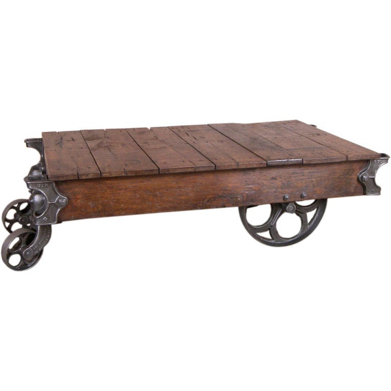 Vintage Industrial Wood And Cast Iron Nutting Cart Coffee Table At 1stdibs