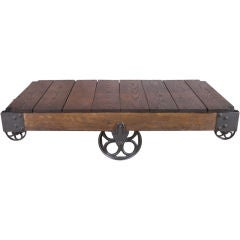 Vintage Industrial Wood & Cast Iron Factory Cart / Coffee Table