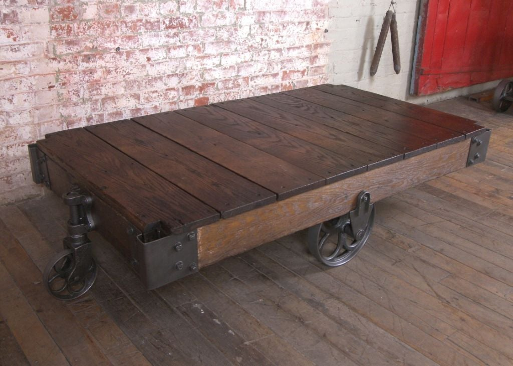 Vintage Industrial Wood And Cast Iron Factory Cart
