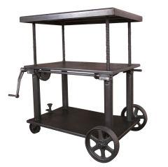 Vintage Industrial Adjustable Metal Lift Cart / Table