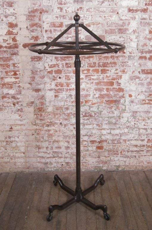 Vintage Cast Iron And Steel Rolling Coat Rack Stand At