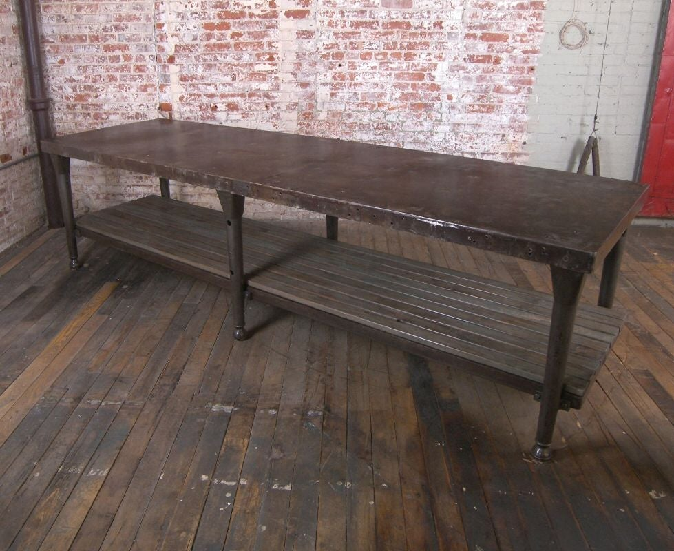 Vintage Industrial Cast Iron And Wood Kitchen Table Island At 1stdibs