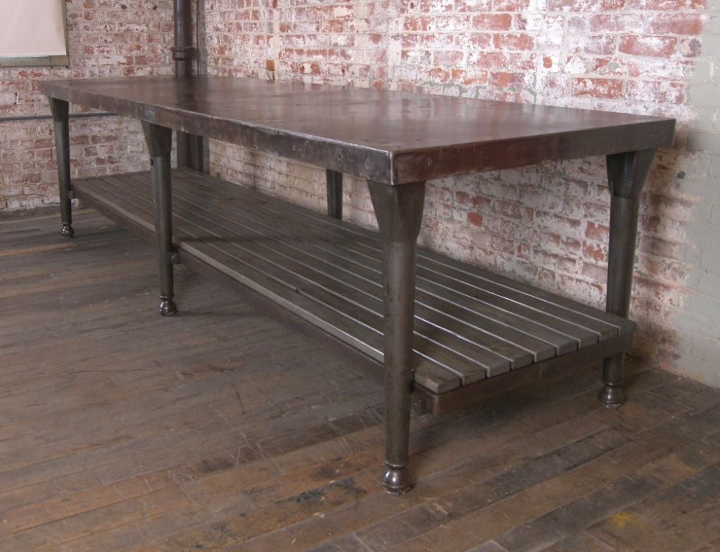 Vintage Industrial Cast Iron and Wood Kitchen Table / Island at ...