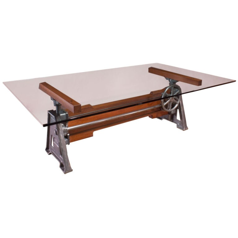 Industrial adjustable wood and metal cast iron table for Cast iron table legs for sale