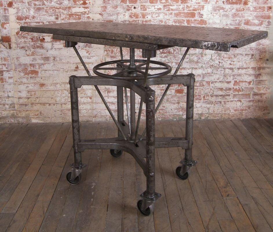 Vintage Industrial Adjustable Steel Bar Table On Casters