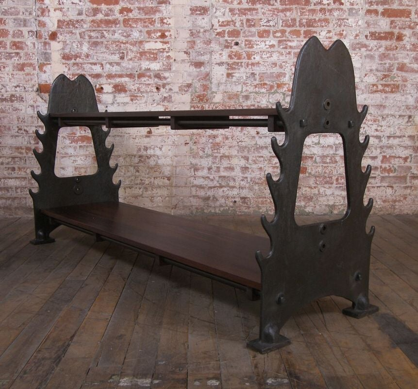 Vintage Industrial Walnut & Cast Iron Media Console In Excellent Condition For Sale In Oakville, CT