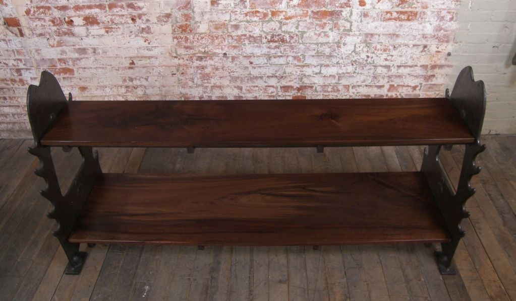 Vintage Industrial Walnut & Cast Iron Media Console For Sale 3