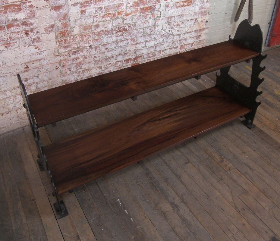 Vintage Industrial Walnut & Cast Iron Media Console For Sale 4