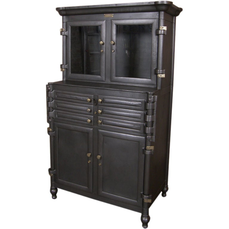 vintage aseptic metal and glass dental cabinet at 1stdibs. Black Bedroom Furniture Sets. Home Design Ideas
