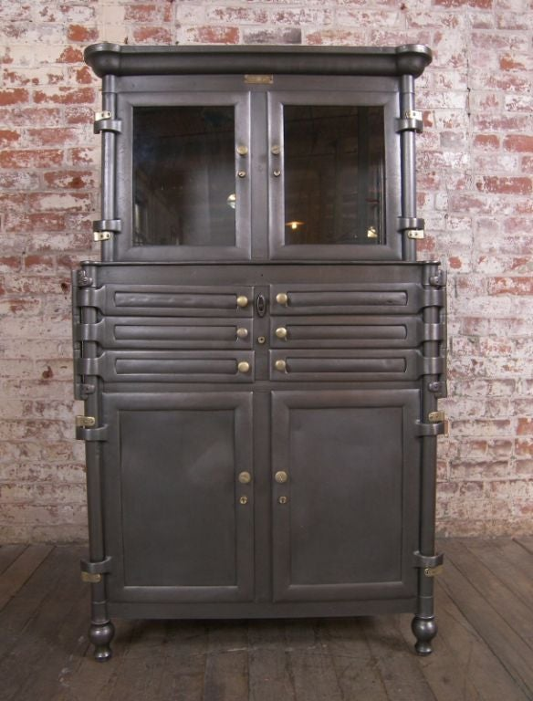 Vintage Aseptic Metal and Glass Dental Cabinet at 1stdibs