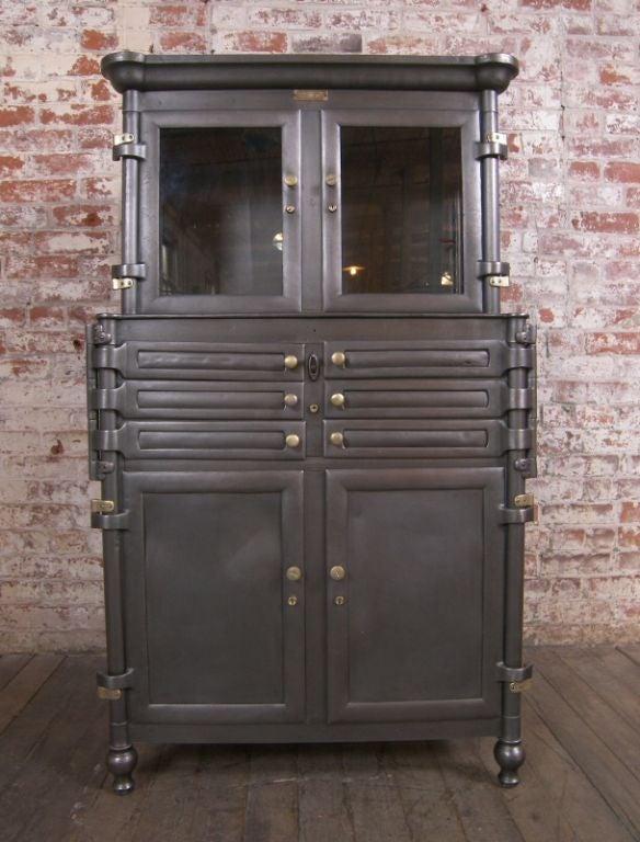 Amazing Vintage Aseptic Metal U0026 Glass Dental Cabinet 3