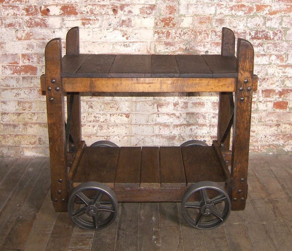 Vintage Wood And Cast Iron Bar Cart End Table 1 At