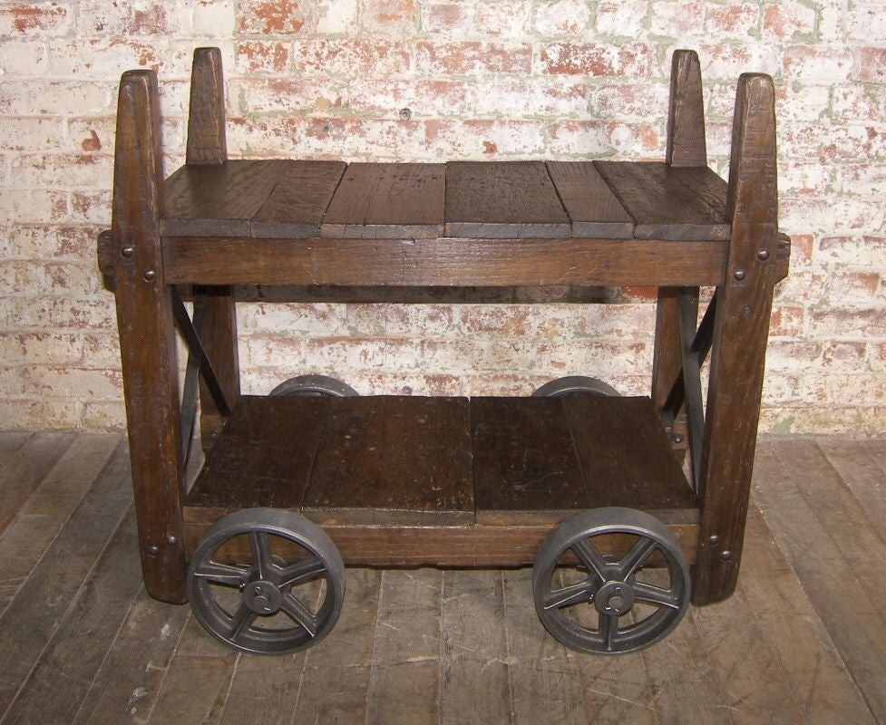 Vintage industrial wood and cast iron bar cart end table for Cast iron end table