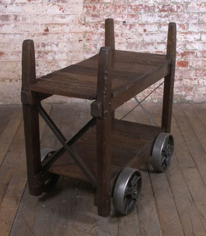 Vintage industrial wood and cast iron bar cart end table for Cast iron table ends