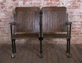 Heywood - Wakefield Vintage Wood & Cast Iron Theater Seating image 2