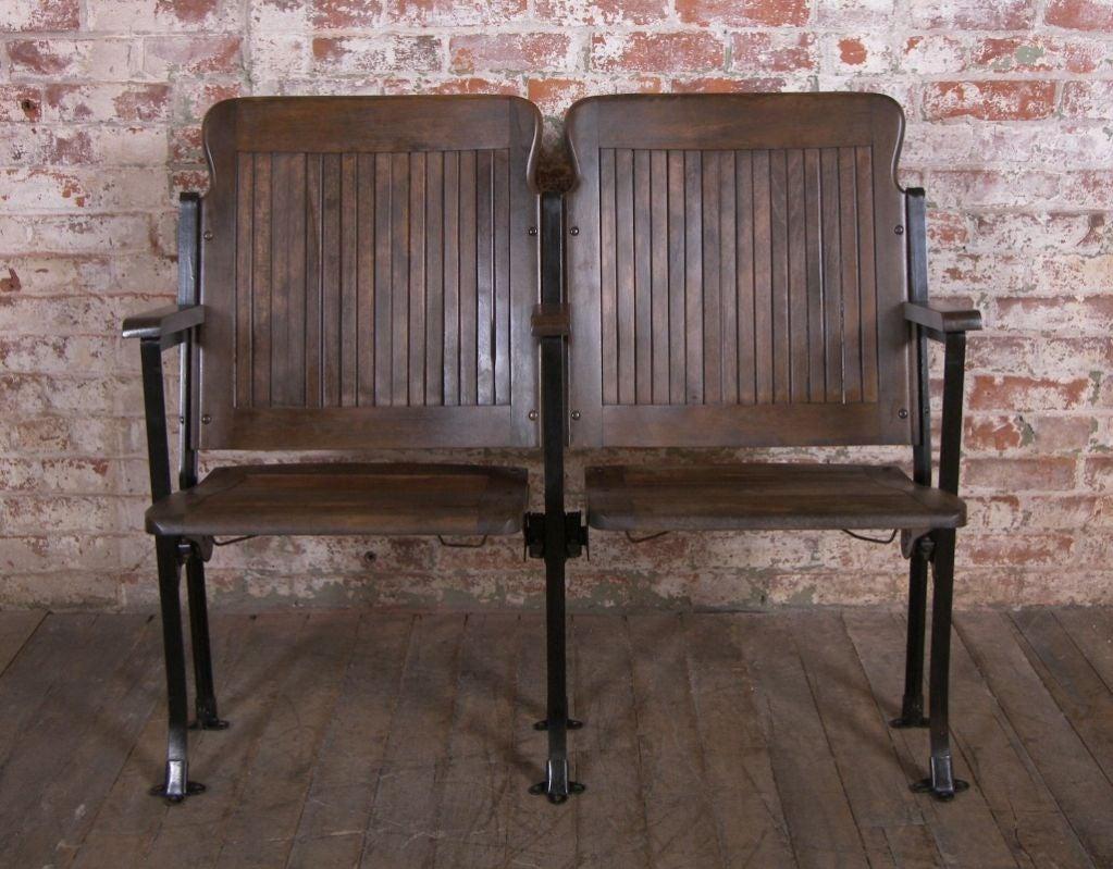 Heywood - Wakefield Vintage Wood & Cast Iron Theater Seating 2
