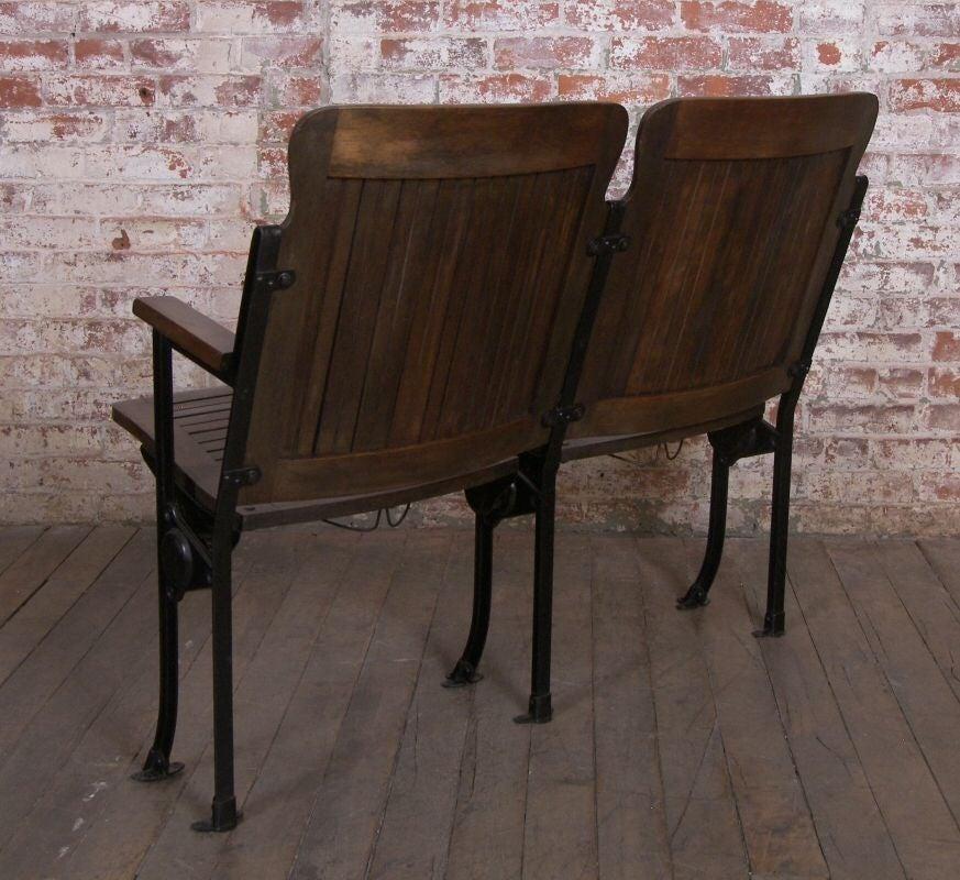 Heywood - Wakefield Vintage Wood & Cast Iron Theater Seating 4
