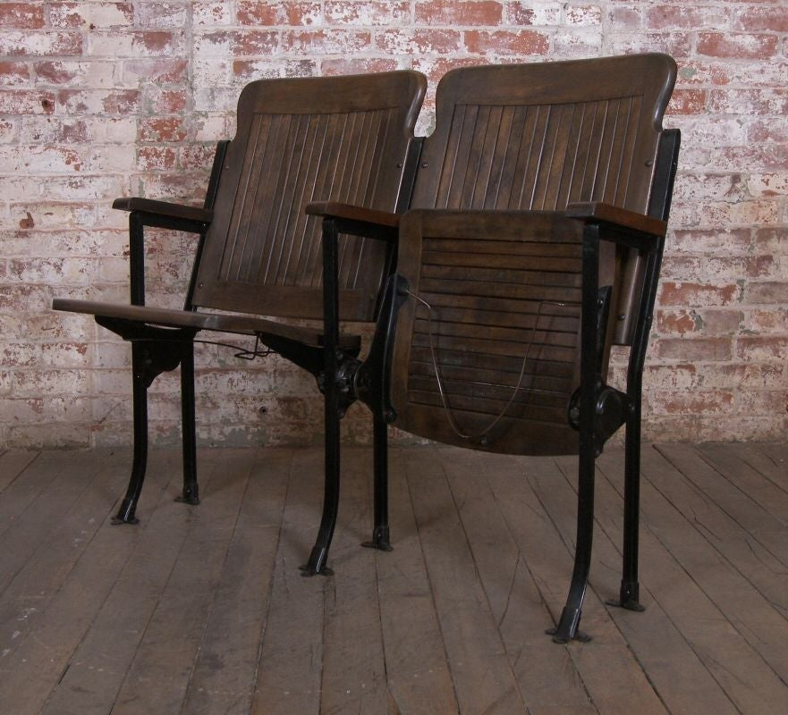 Heywood - Wakefield Vintage Wood & Cast Iron Theater Seating 6