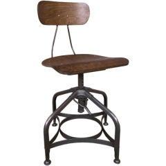 Vintage Industrial Adjustable Vintage Bent Plywood and Metal Toledo Swivel Chair