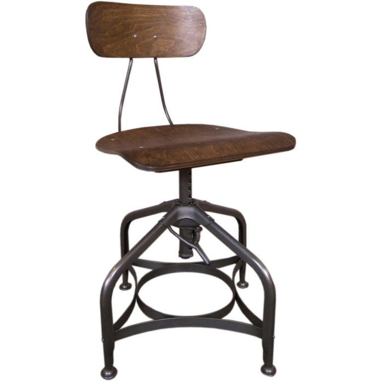 Vintage Industrial Adjustable Vintage Bent Plywood And Metal Toledo Swivel  Chair 1