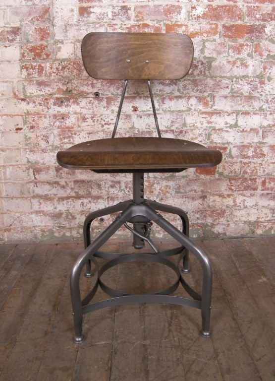 Vintage Industrial Adjustable Vintage Bent Plywood And
