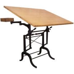 Vintage Cast Iron & Wood Adjustable Drafting Table