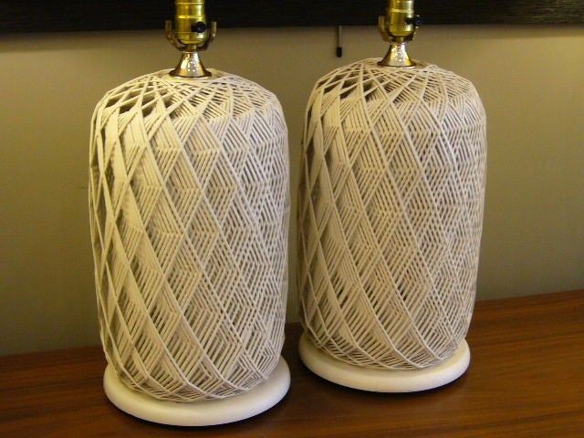 Pair White Optic Woven Cane Table Lamps At 1stdibs