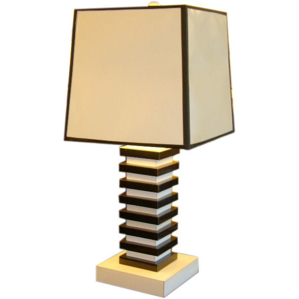 cubist pop black and white stacked table lamp at 1stdibs. Black Bedroom Furniture Sets. Home Design Ideas
