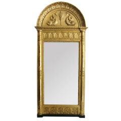 Swedish Empire pier mirror signed by Pehr Gustaf Bylander, Gothenburg.
