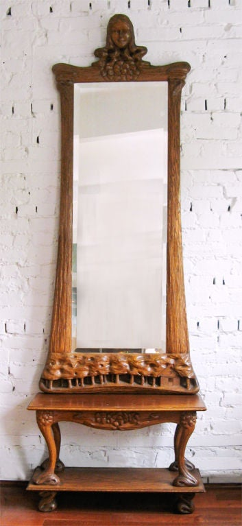 swedish art nouveau pier mirror console carved european oak at 1stdibs. Black Bedroom Furniture Sets. Home Design Ideas