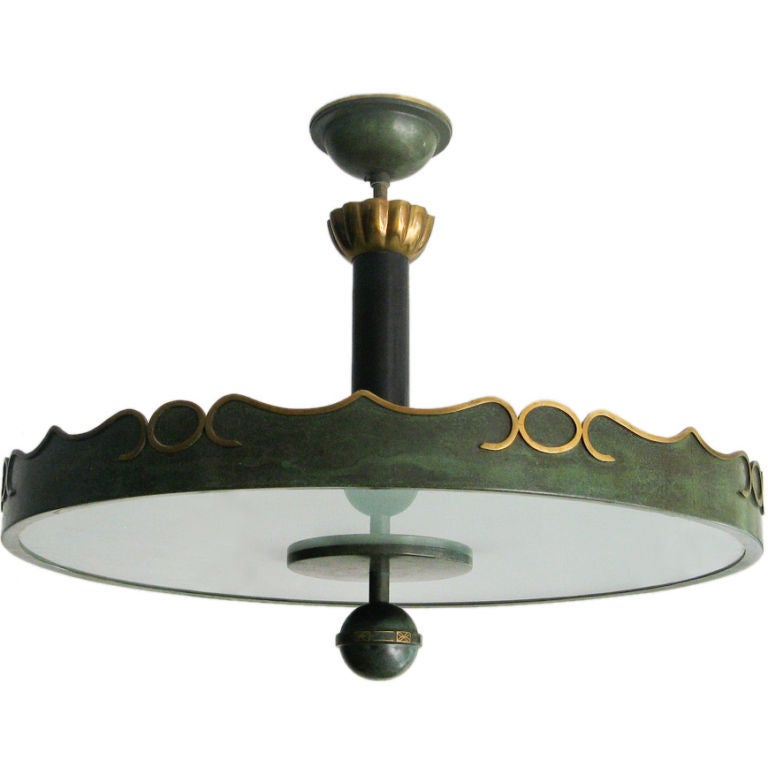 """Elegant late 1920's Swedish Art Deco ceiling fixture in green painted and polished brass. Original canopy and frosted glass. There are four standard sockets. Height 26.5"""", Diameter: 25""""."""