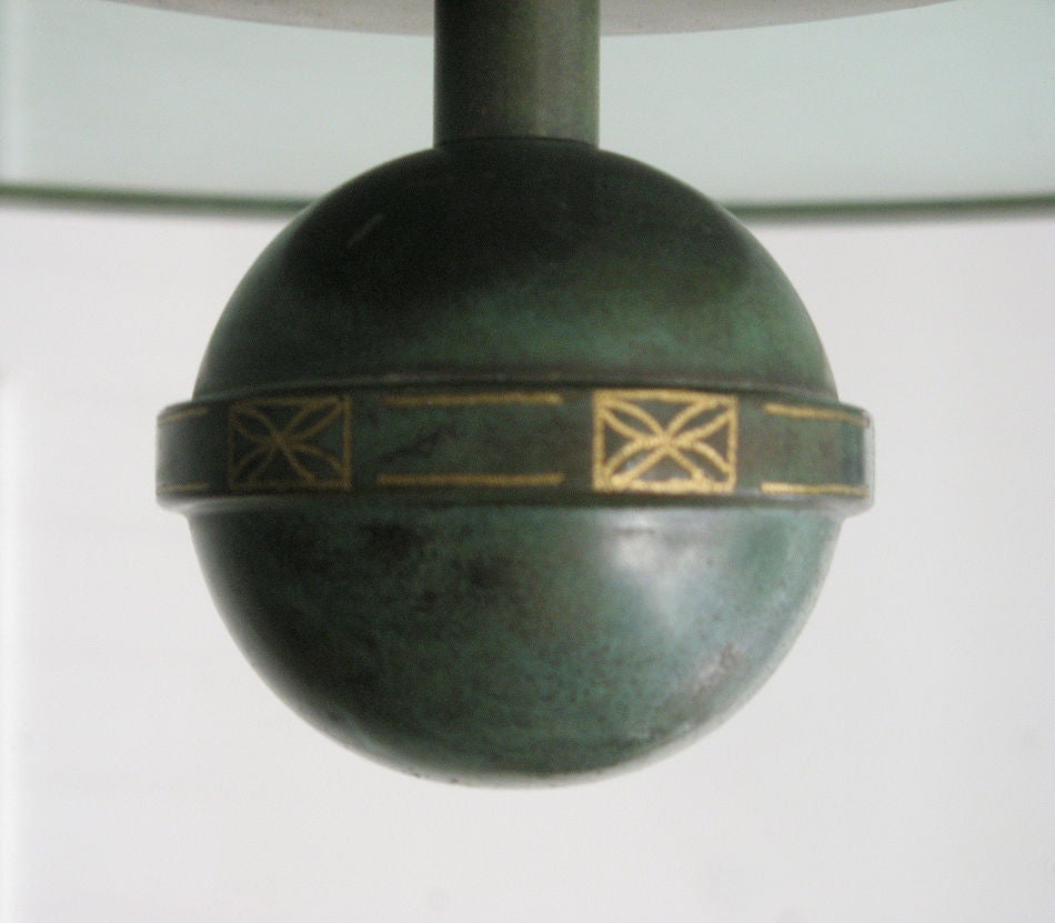 20th Century Fantastic Swedish Art Deco ceiling fixture in patinated brass. For Sale