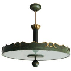 Fantastic Swedish Art Deco ceiling fixture in patinated brass.