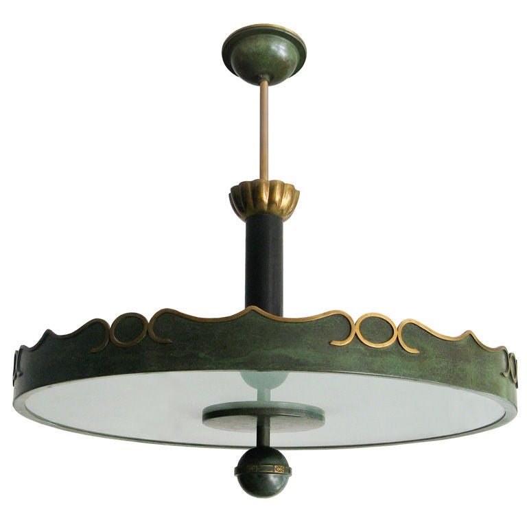Fantastic Swedish Art Deco ceiling fixture in patinated brass. For Sale