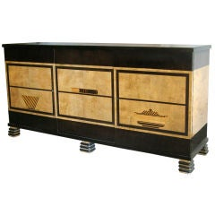Swedish Art Deco sideboard cabinet with marquetry Otto Schulz.