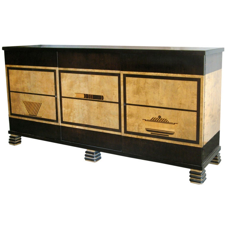 Swedish art deco sideboard cabinet with marquetry otto for Sideboard 240