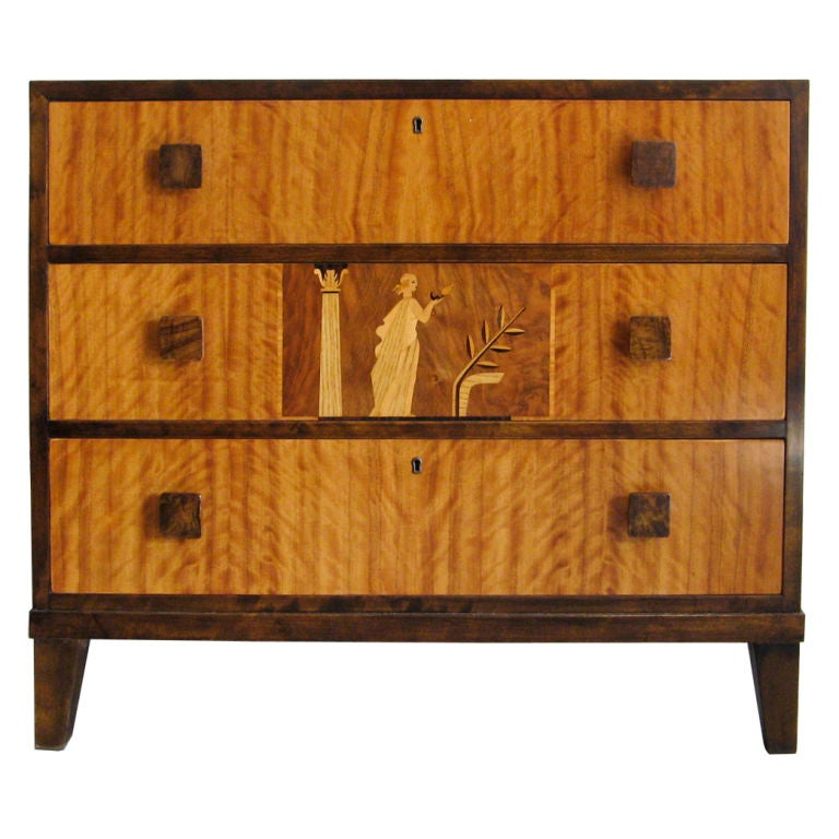 Swedish 1930s art deco chest of drawers with beautiful for Examples of art deco furniture