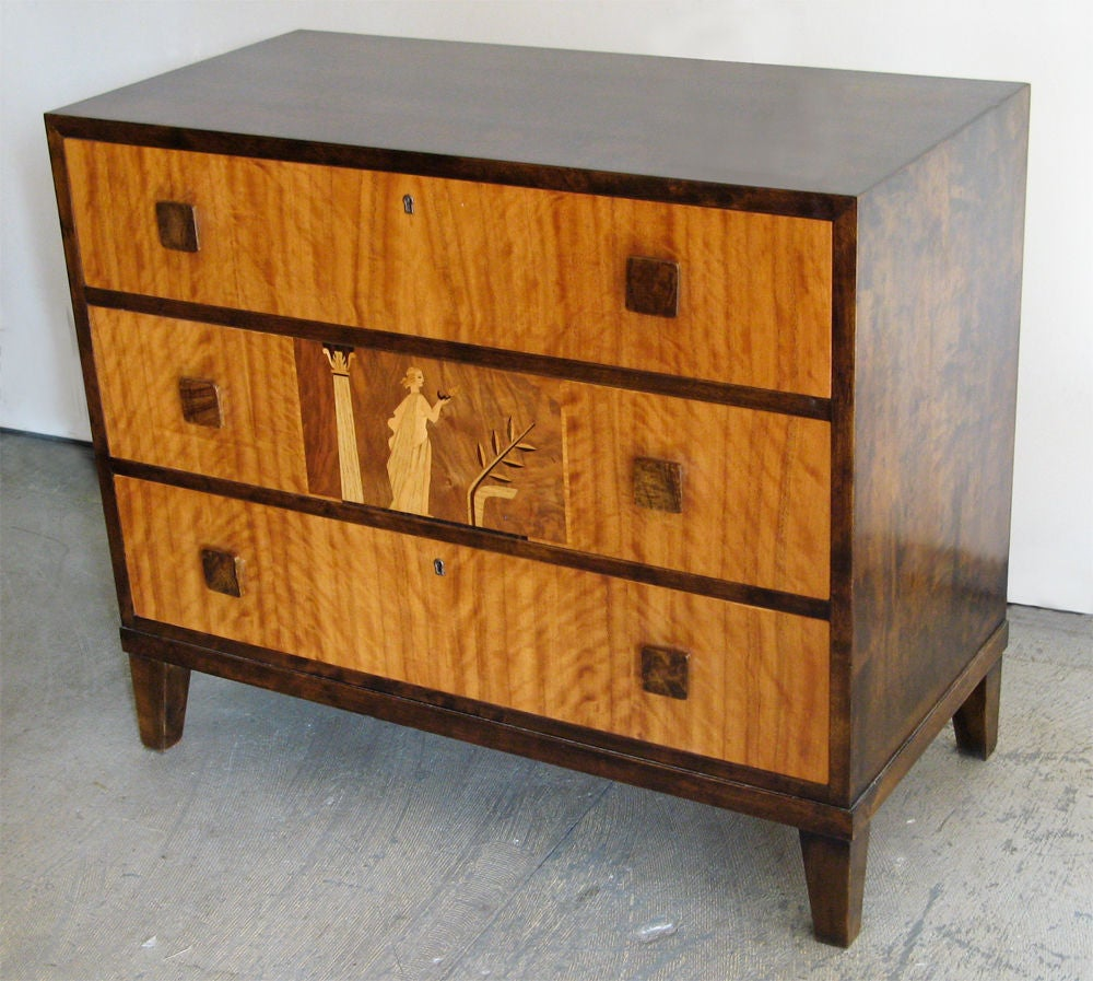 Th Century Swedish S Art Deco Chest Of Drawers With Beautiful Marquetry For Sale
