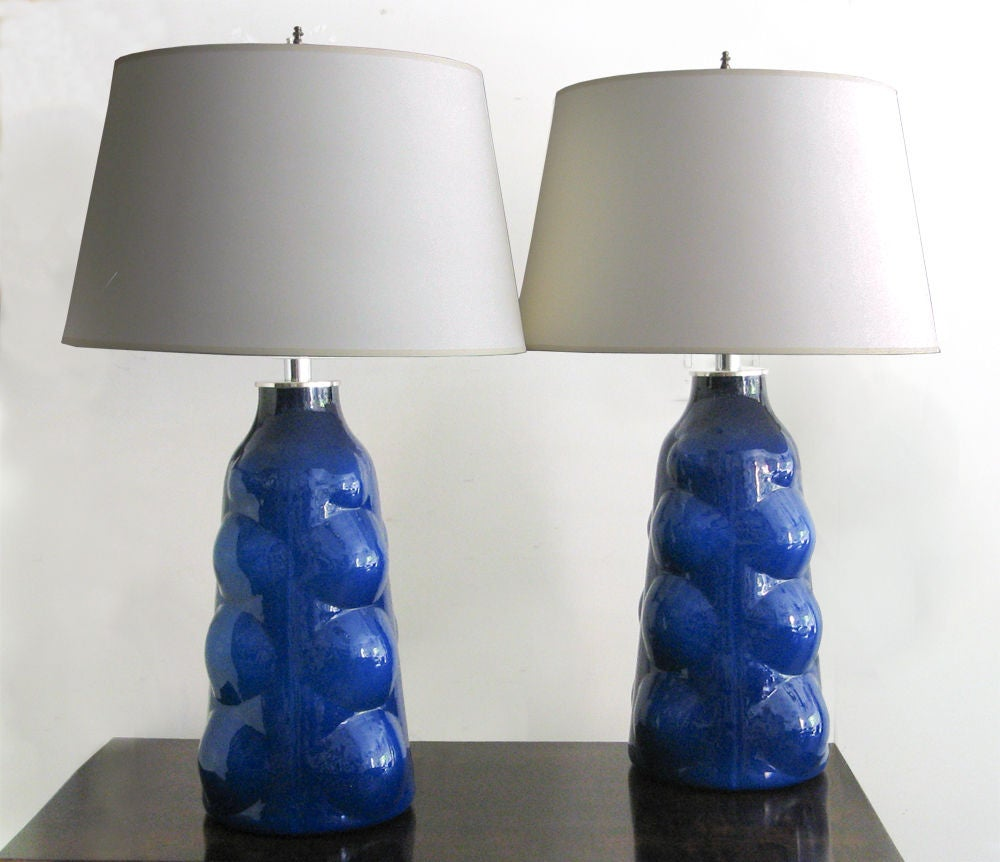 large pair of swedish cobalt blue glass lamps made by. Black Bedroom Furniture Sets. Home Design Ideas