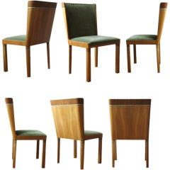 Rare set of 6 Swedish Art Deco dining chairs by Carl Bergsten.