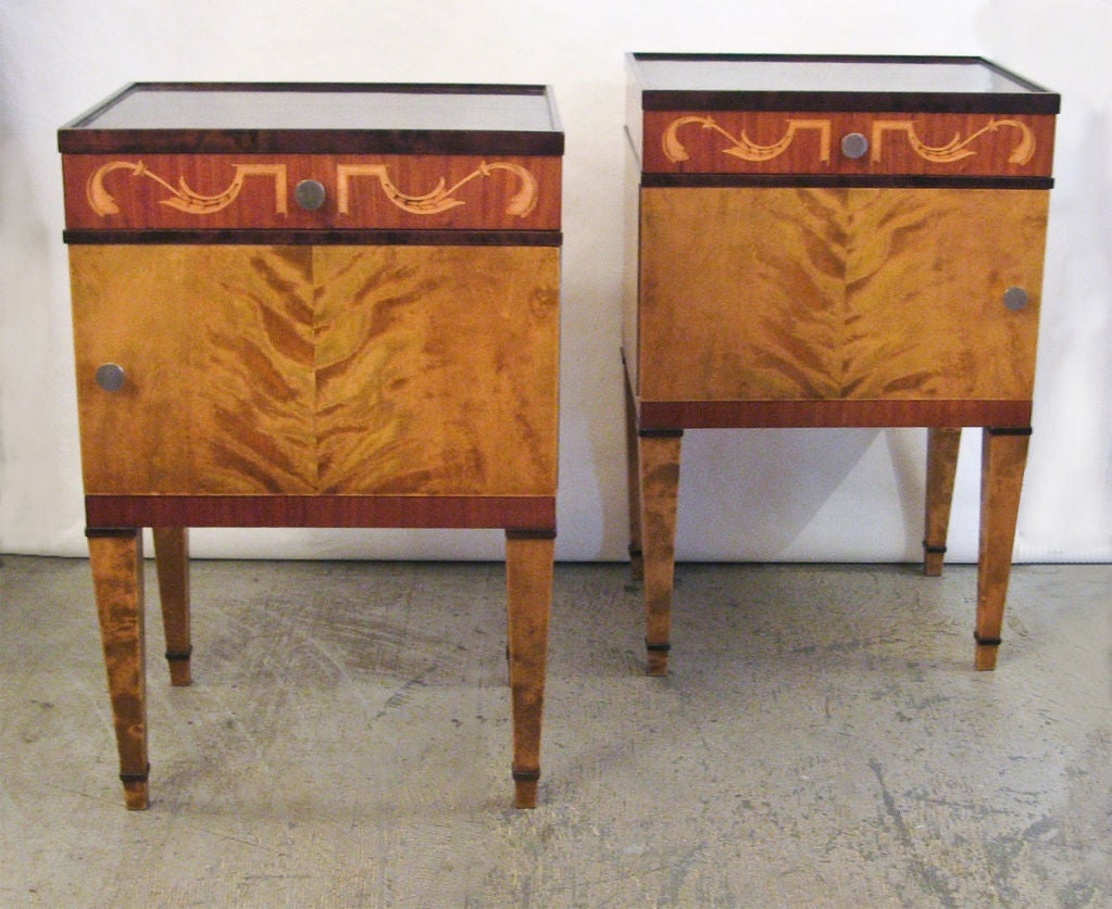 Elegant pair of swedish art deco birch and mahogany nightstands at 1stdibs - Elegant types of nightstands ...